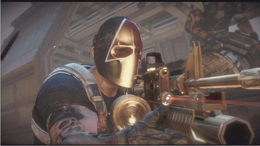 Mi personaje viste una colorida máscara de LEVEL UP y porta una carabina M4 dorada, personalizada para jalar aggro