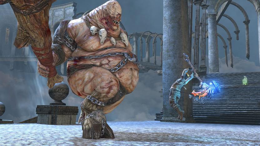 Los enemigos están inspirados en la mitología griega; este cíclope tiene un evidente punto débil, característica ausente en otros enemigos