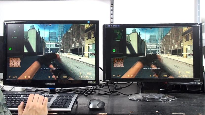El monitor de la izquierda está corriendo a 120Hz, mientras que el de la derecha corre a 60Hz
