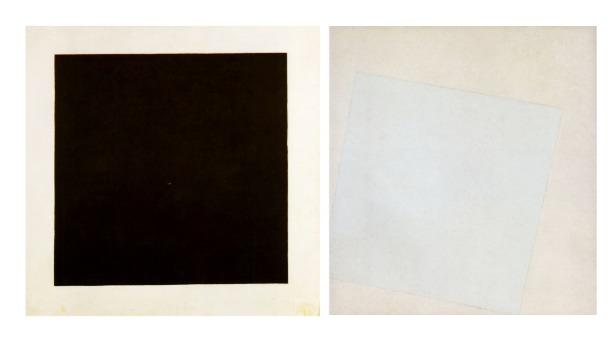 El arte de Kazimir Malevich. A la izquierda: Cuadrado Negro sobre Fondo Blanco (1915); a la derecha: Blanco sobre Blanco (1918)