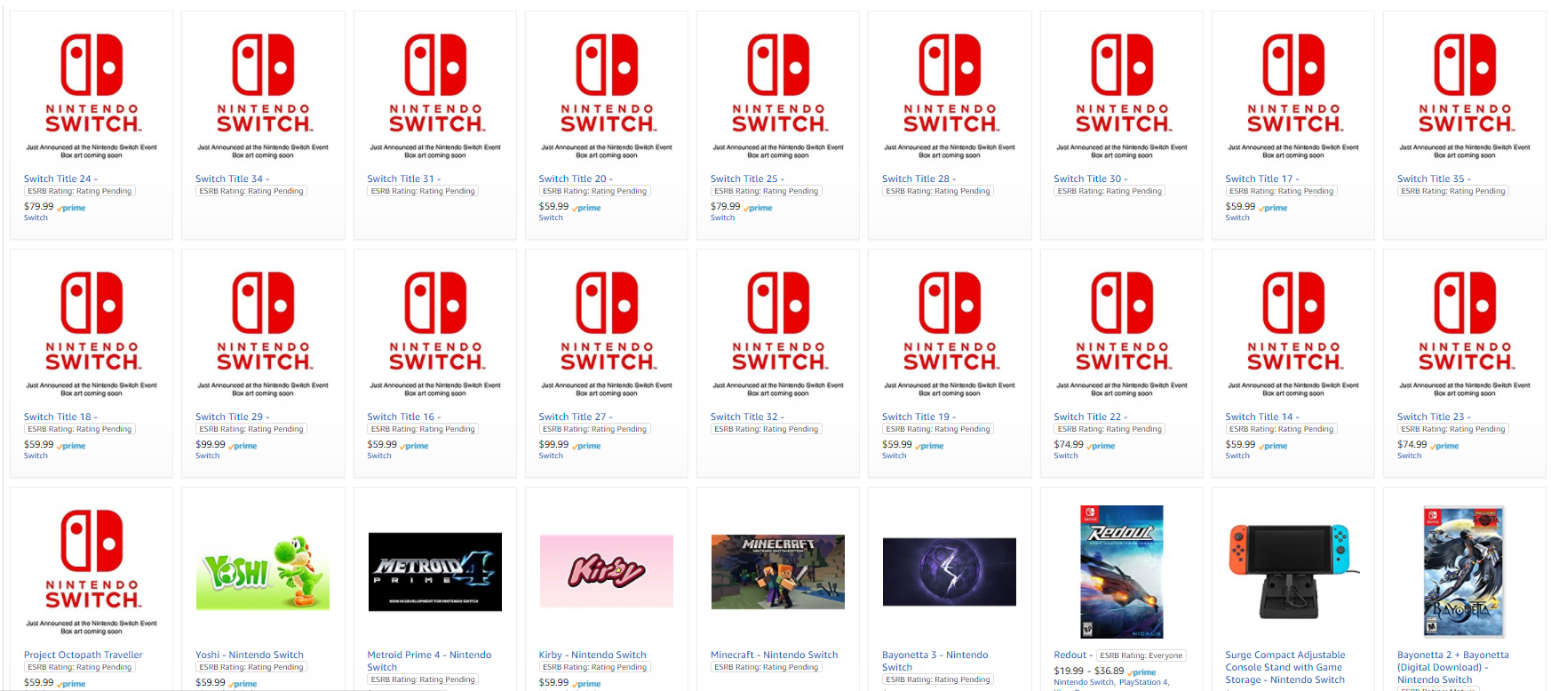 Amazon Leaks 18 Possible Nintendo Switch Games - Geek Reply
