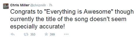 """Felicidades a """"Everything is Awesome"""" aunque el título de la canción no está del todo acertado."""
