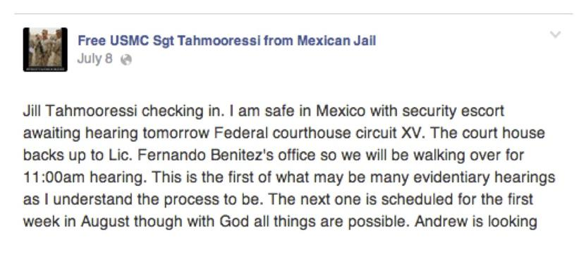 Fragment of Facebook Post by mother, Jill Tahmooressi, the day before the hearing