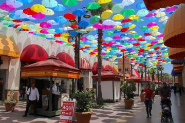 Colorful Umbrellas Adorn Plazas in Tijuana