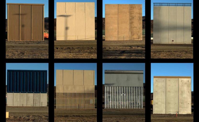 Los modelos del muro alcanzan los 9 metros. Foto por AFP