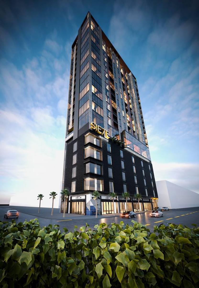 Siete, en la Avenida Revolución, con 1 piso de negocios, 4 de oficinas y 1 de amenidades y 14 de condominios.