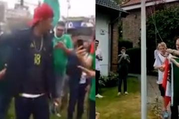 Mientras que en Tijuana queman bandera de Alemania, ellos izan...
