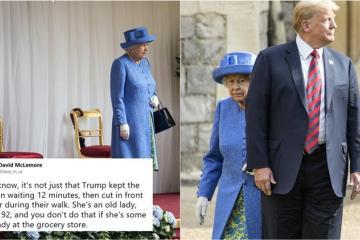 Trump camina enfrente de la Reina Elizabeth II y enloquece al mundo...