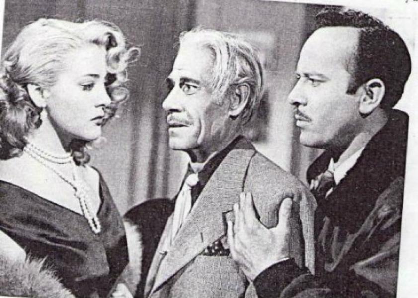 Pinal al lado de Andrés Soler y Pedro Infante en Un rincón cerca del cielo (1952)