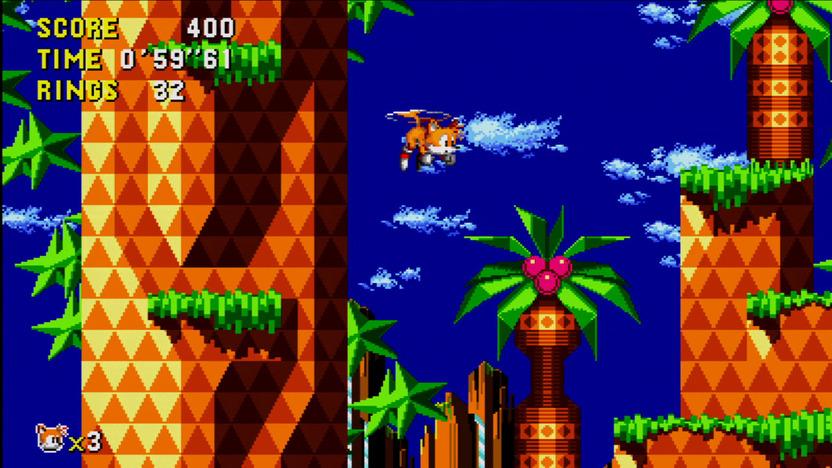 La sorpresa más grande con la nueva versión de Sonic CD es la inclusión de Tails, que además de su carisma permite una exploración más completa