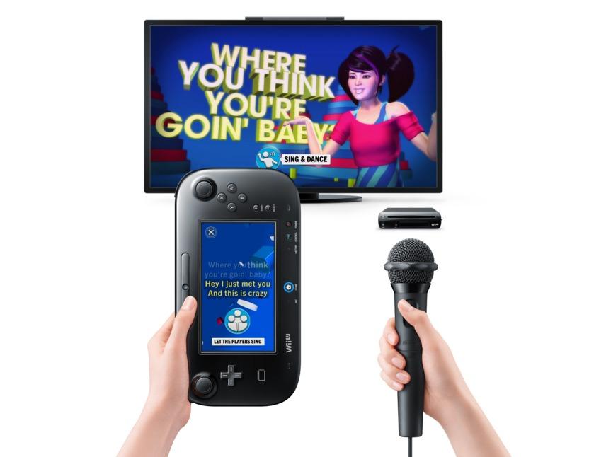 En el modo fiesta, la letra de la canción pasa al GamePad y en la pantalla aparece un personaje bailando y cantando