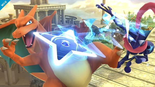 Greninja es una buena adición al roster; Charizard, por otro lado, parece fuera de lugar sin Pokémon Trainer (como un trofeo asistente o un Pokémon que surge de una Poké Ball)