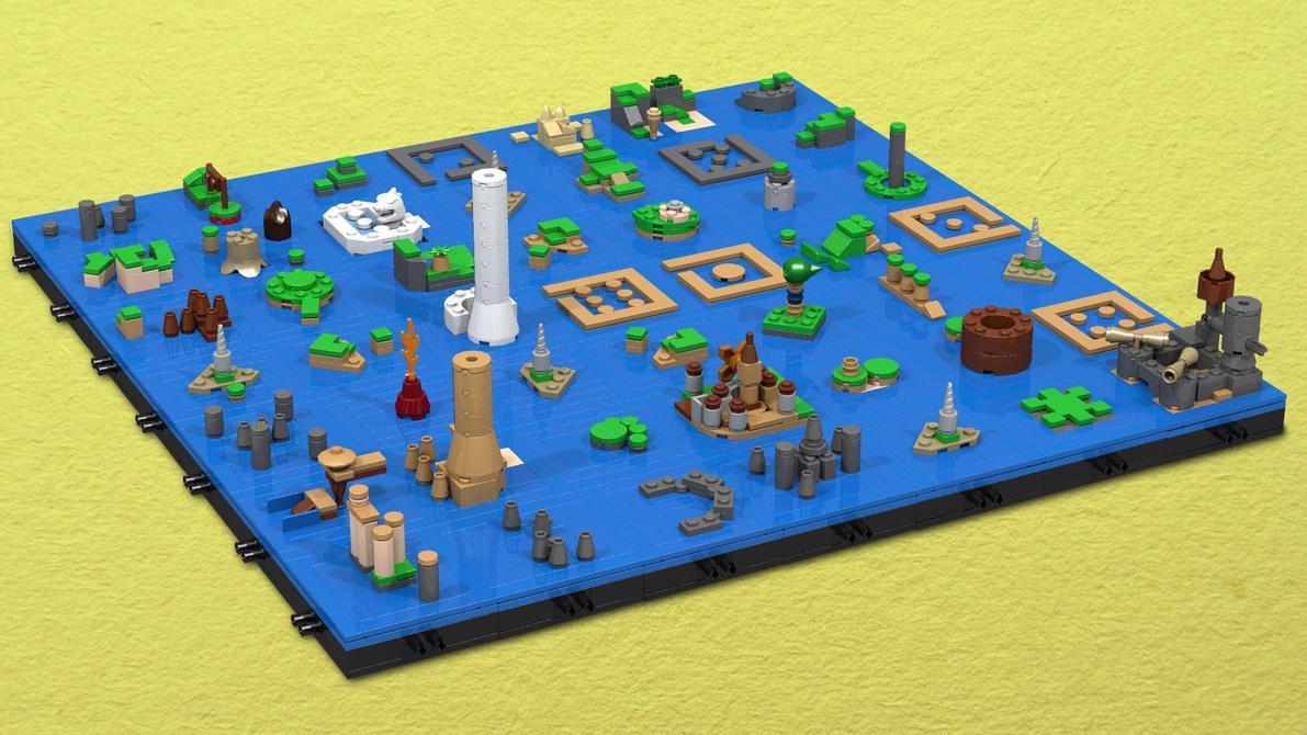 Mapa de <em>Wind Waker</em> con figuras de LEGO