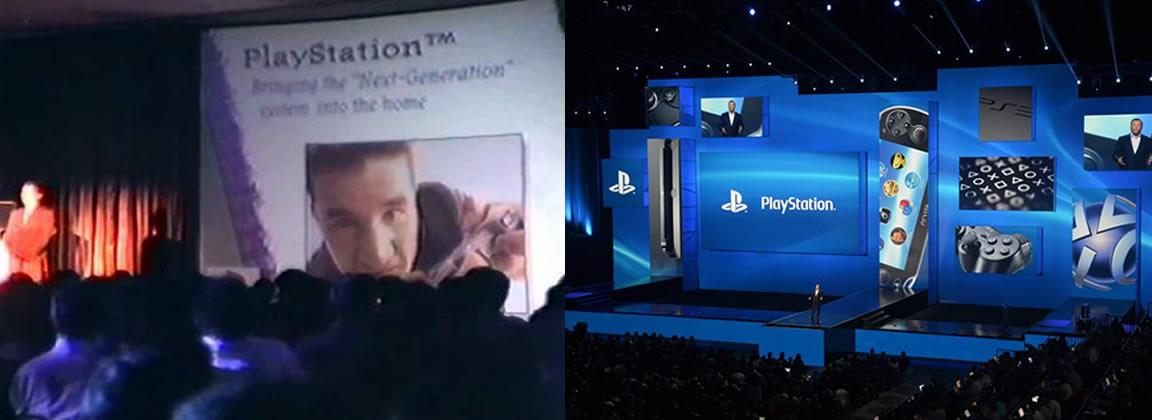El keynote de Sony en E3 1995 a la izquierda y el del año pasado a la derecha