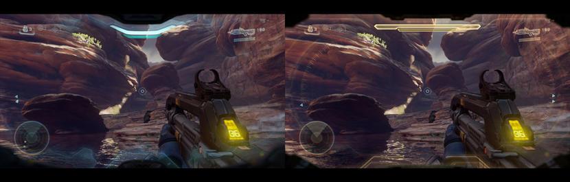 A la izquierda, el HUD de Locke; a la derecha, el de Linda.