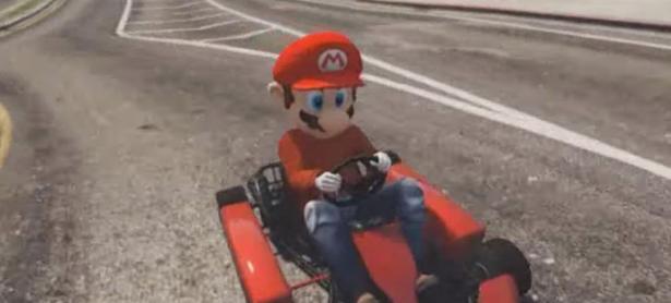 Mario causa el caos con su Kart en <em>Grand Thet Auto V</em>