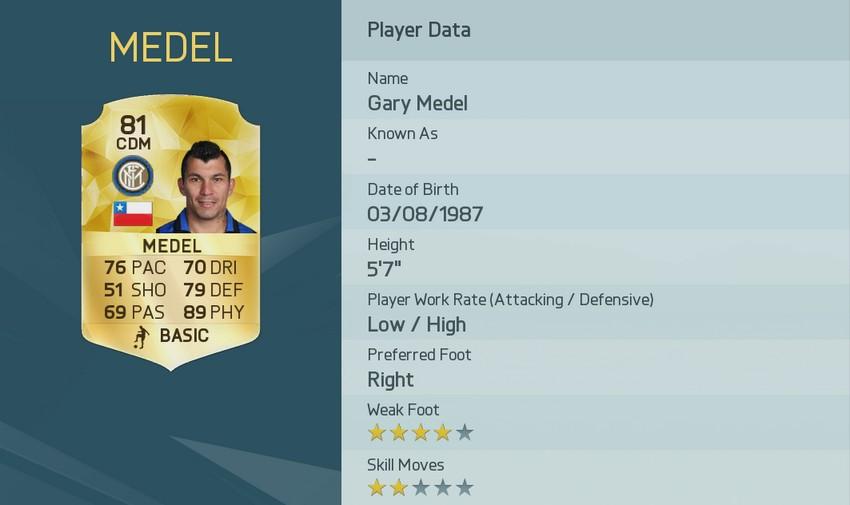 Gary Medel tiene de los mejores físicos en FIFA 16 - Tarreo