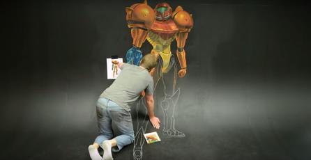 Mira este impresionante arte de tiza en 3D de <em>Metroid</em>