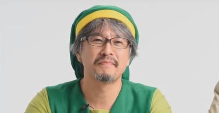 Ve a Aonuma jugar <em>Tri Force Heroes</em> en traje de Link