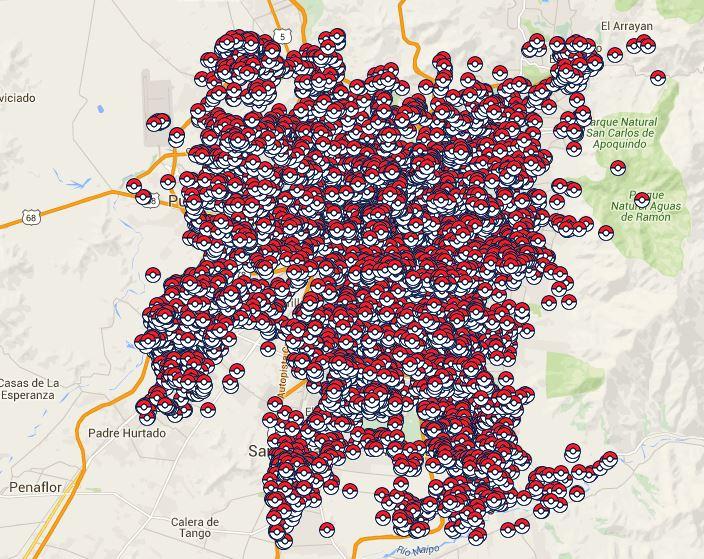 Mapa Gimnasios Pokemon Go.Crean Mapa Con Las Pokeparadas De Santiago Para Pokemon Go