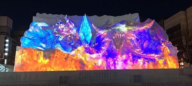 Crean escultura de nieve gigante de <em>Final Fantasy XIV</em> en Japón