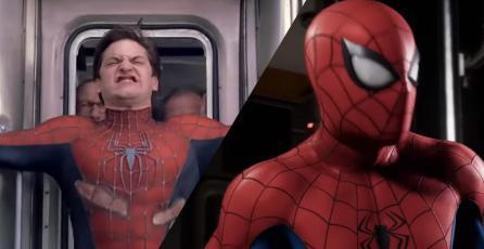 El juego de Spider Man revive la icónica escena de Tobey Maguire en el tren de Nueva York