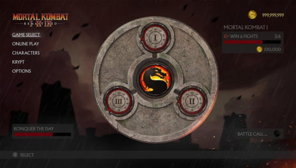 Imágenes de la interfaz de <em>Mortal Kombat Remastered</em>