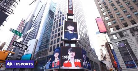 Fanáticos pagaron anuncio en Times Square para celebrar cumpleaños de Faker
