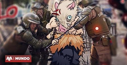Imágenes ponen a Inosuke de Demon Slayer en protestas en Chile