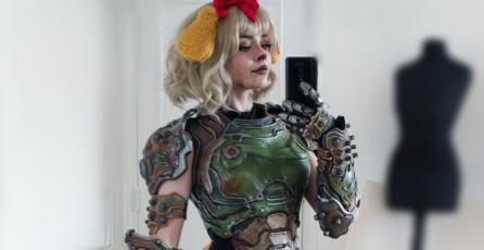 Isabelle de <em>Animal Crossing</em> y el DOOM Slayer se unen en un genial cosplay