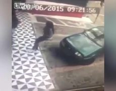 CCTV: Woman Learns The Hard Way Not To Sit On Cars