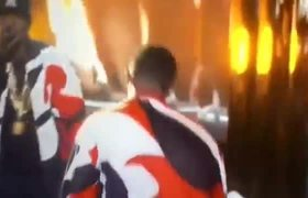 2015 BET Awards - Puff Daddy falls on stage