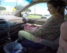 Woman gives birth to her baby in the car