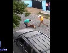 Polemica por Perro Pitbull ataca a perrita y es golpeada por hombres
