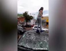 Pregnant woman destroys her husband's car when she discovered cheating
