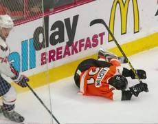Scott Laughton loses control and gets flung into boards