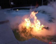 Liquid nitrogen, fire and a pool