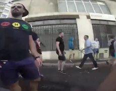 """#VIRAL - Hincha ruso graba con una GoPro la batalla contra """"hooligans"""