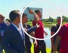 Cristiano Ronaldo bursts and microphone journalist pulls a lake