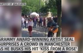 Surprise Performance - Seal busks 'Kiss From a Rose' in Manchester