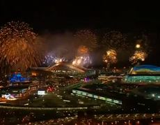 Skies are lit with fireworks during the closing ceremony of the Winter Olympics in Sochi