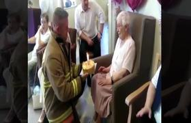 Old lady of 105 years old requests birthday gift a sexy firefighter
