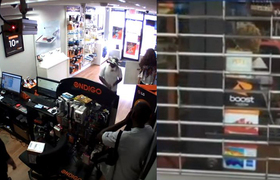 #CCTV - Robbers get locked in cellphone store, crowd watches and laughs