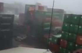 #TyphoonMeranti Damaging Container Yard