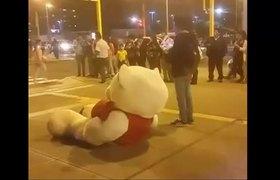 Esperó a su novia con un oso gigante y lo plantaron