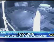 Man takes off while gator attacks woman in pool