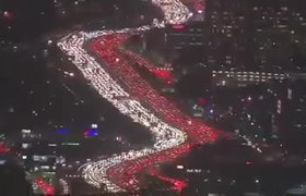 Overhead shot of pre-Thanksgiving traffic in Los Angeles