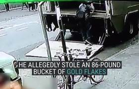 #CCTV - Steals Bucketful of Gold in New York