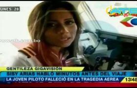 Sissy Arias (copiloto) habló minutos antes del viaje de Chapecoense