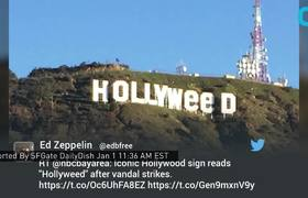New Year Prank - Hollywood Sign Changed to HOLLYWEED